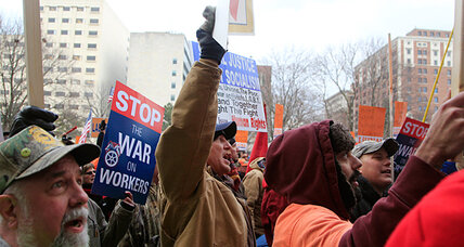 Michigan 'right to work' law: Worse for unions than Wisconsin setback? (+video)