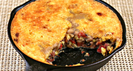 Black-eyed pea and cornbread skillet