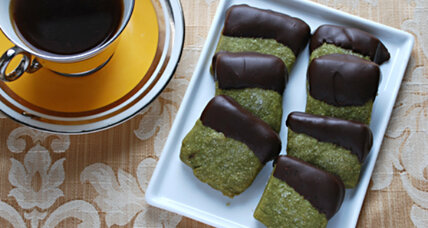 Chocolate-dipped green tea shortbread cookies