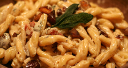 Pasta with chestnuts, pancetta, and sage