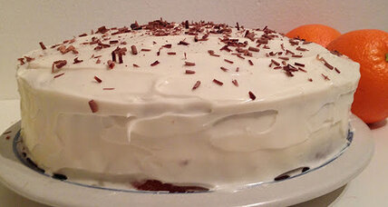 Orange cake with dark chocolate and cream cheese frosting
