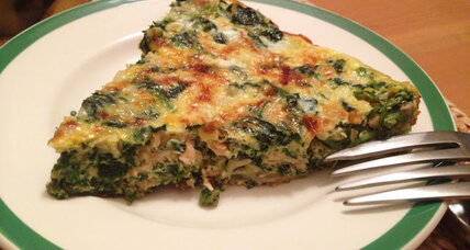 Smoked salmon frittata with caramelized onions and spinach