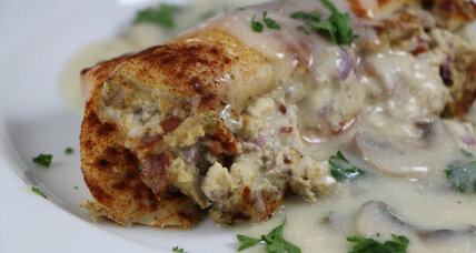 Bacon, mushroom-stuffed chicken breasts