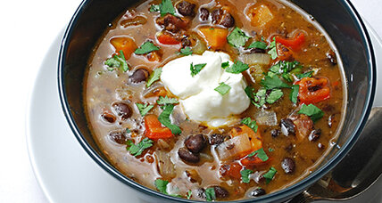 Lively, hearty black bean soup with ham hocks