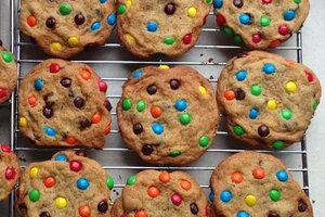 image relating to Corner Bakery Printable Menu named MM, chocolate chip monster cookies -