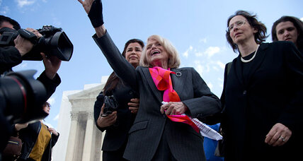 Anti-gay marriage law gets chilly reception from key Supreme Court justice