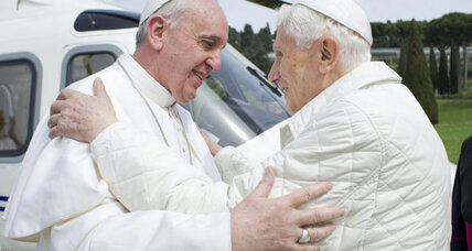 Pope Francis meets Pope Benedict in historic visit