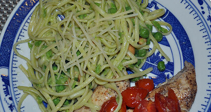 Pasta with pea pesto and simple salt and pepper chicken
