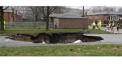 Humongous Chicago sinkhole swallows three cars, injures one driver