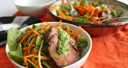 Carrot and cucumber veggie noodle salad with cilantro hemp pesto