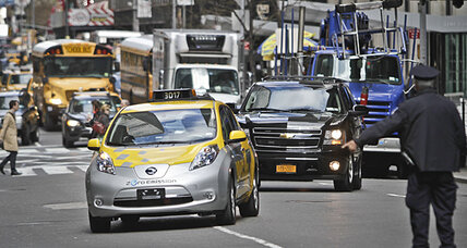 Nissan Leaf electric taxis launch in New York