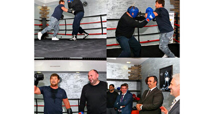 Chechen strongman corrects his minister - with a boxing glove to the head