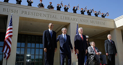 George W. Bush on the rebound? Nothing like a presidential library to help. (+video)