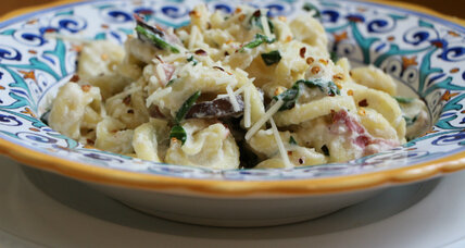 Pasta with ham and mushrooms in a creamy ricotta sauce