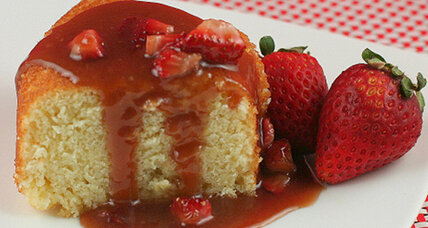 Hot milk cake and strawberry caramel sauce