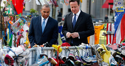 British PM Cameron visits Boston, offers condolences