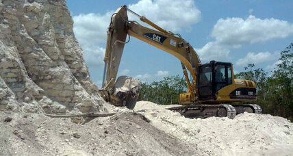 Mayan pyramid bulldozed for road fill by construction company
