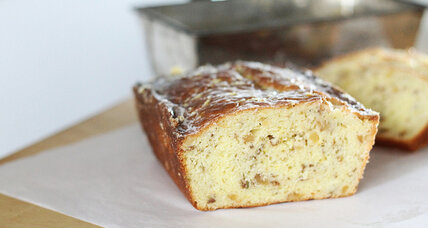 Yogurt lemon loaf with rosemary and walnuts