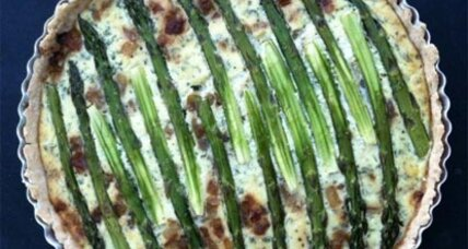 Asparagus and caramelized onion tart