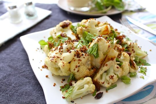 Roasted Cauliflower With Cashew Raisin Vinaigrette Recipes ...
