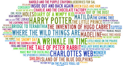 Best books for children: a word cloud merges best-of lists
