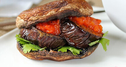 Meatless Monday: Portobello and cumin spiced eggplant burgers