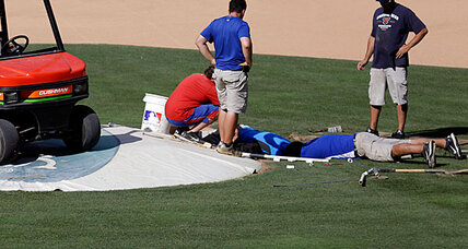 Ballpark sinkhole cancels Rangers batting practice (+video)