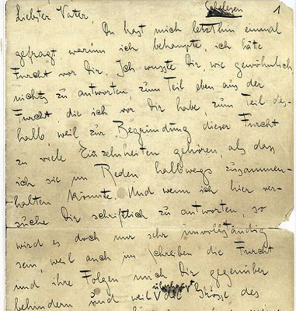 letter to his father franz kafka's 27 abstract this essay explores the literary connection between franz kafka and philip roth it is focused on kafka's 1919 letter to his father, which is.