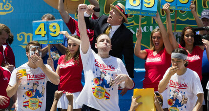 Joey Chestnut triumphs, again, at Nathan's annual hot dog pig-out