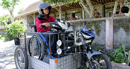 Sri Lestari travels by motorcycle to bring an empowering message to disabled people