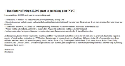 $10,000 for a good poem, promises a mysterious benefactor