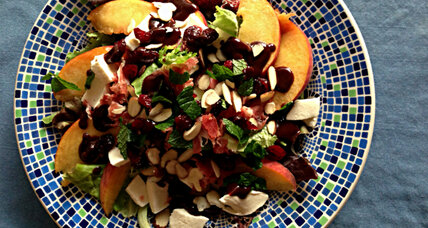 Too hot too cook? Try Summer peach salad with chocolate vinaigrette.