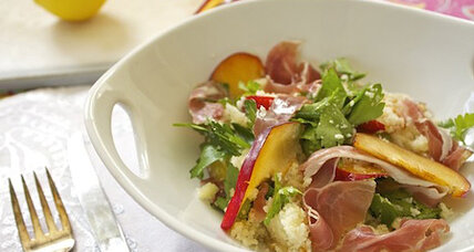 Cauliflower 'couscous' salad with plums and prosciutto