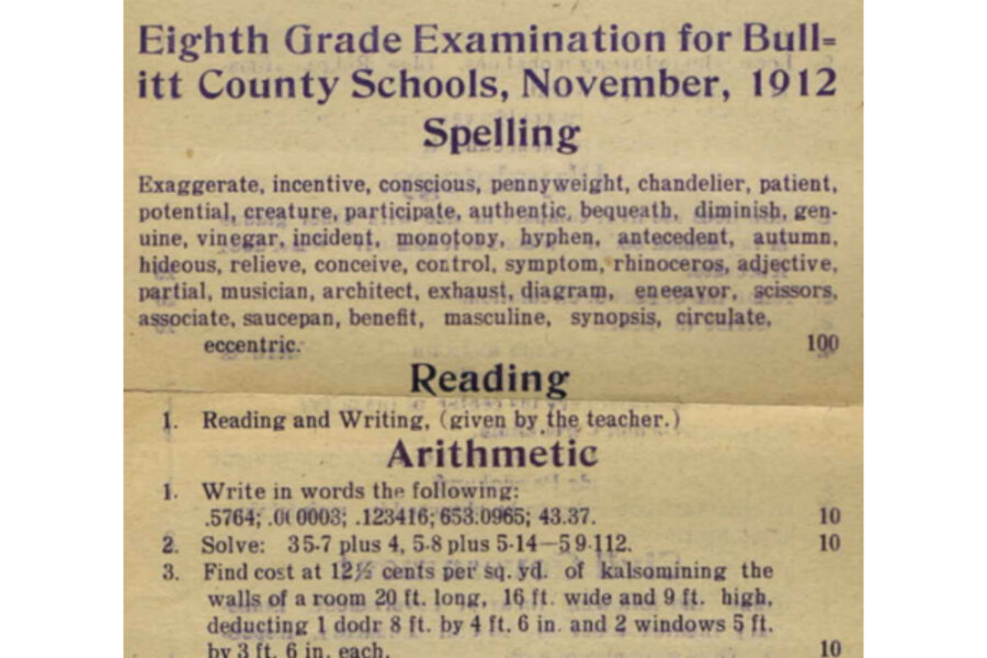 1912 eighth grade exam: Could you make it to high school in 1912?