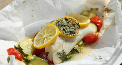Pacific cod with zucchini and tomatoes 'en papillote' and a meal plan for two