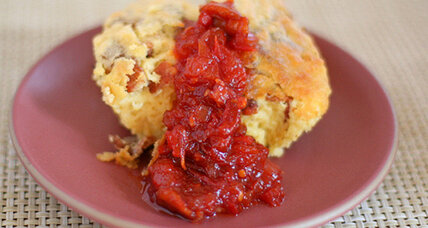 Bacon spoon bread and tomato-bacon jam
