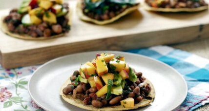 Tostadas with cocoa spiced pinto beans and peach mint salsa