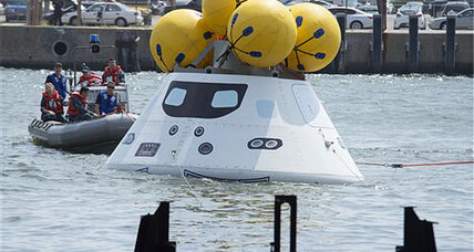 NASA and the Navy practice space-capsule recovery