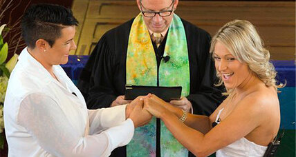 Gay weddings begin in New Zealand, including one at 39,000 feet