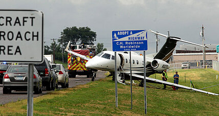 Jet overshoots runway near Minneapolis. No injuries.