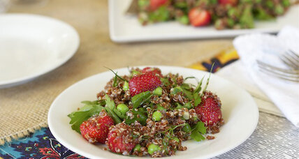 Simple strawberry quinoa salad with peas and dill