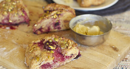Sour cherry yogurt scones with cardamom honey butter