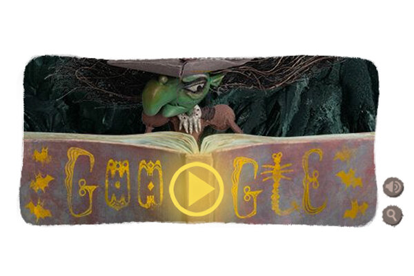 a witch with a bubbling cauldron celebrates halloween as todays google doodle - Halloween History Witches