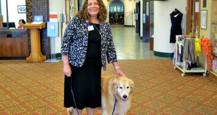 Comet, a cuddly canine pal, cheers nursing home residents
