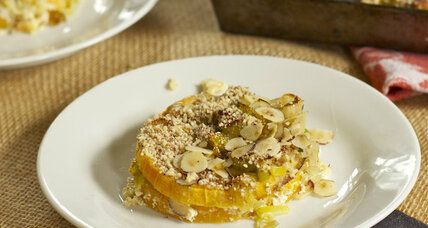 Butternut squash, leek, and hazelnut gratin
