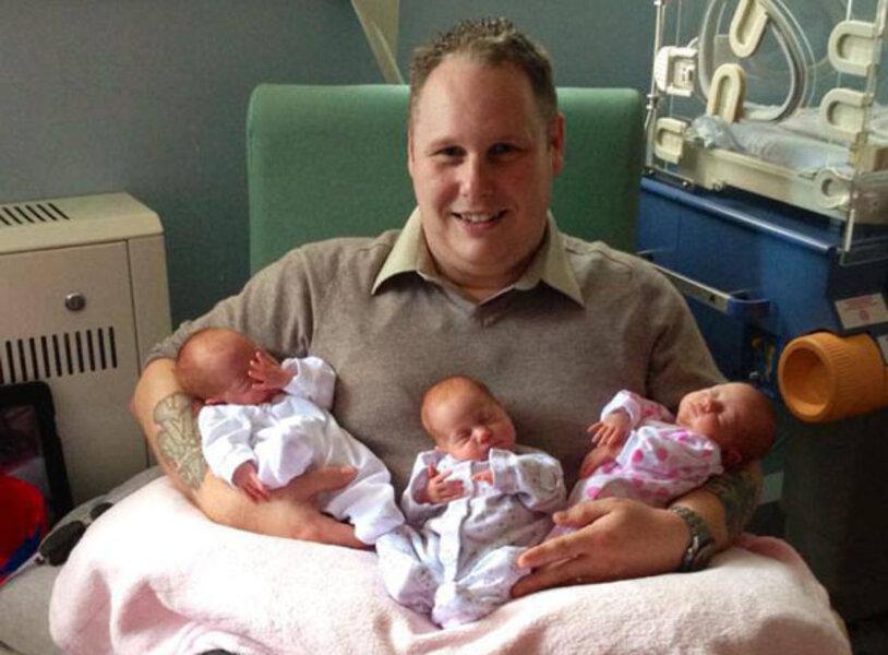 Identical triplets: UK family brings