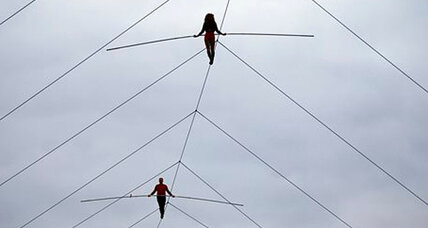 Wallenda family: Nik and Lijana Wallenda walk 150 feet above racetrack