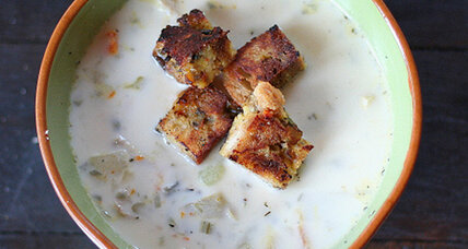 Creamy turkey and wild rice chowder with toasted dressing croutons