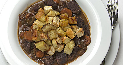 Cardamom beef stew with roasted root vegetables