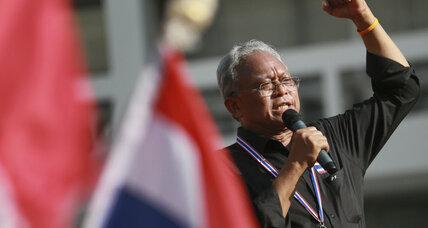 Former deputy prime minister is passionate leader of anti-government Thai protests